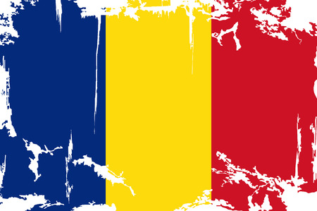 Romanian grunge flag. Vector illustration. Grunge effect can be cleaned easily. Illustration