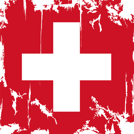swiss flag: Swiss grunge flag. Vector illustration. Grunge effect can be cleaned easily. Illustration