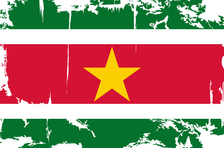 cleaned: Surinam grunge flag. Vector illustration. Grunge effect can be cleaned easily.