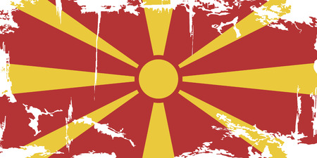 sun burnt: Macedonian grunge flag.  Illustration