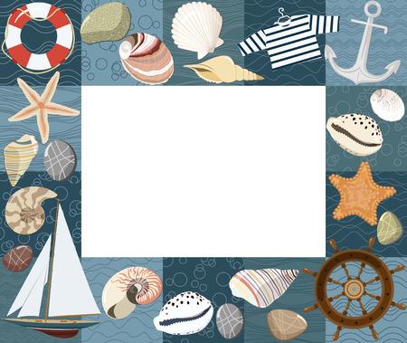 Baby marine photo frame or card.  Vector