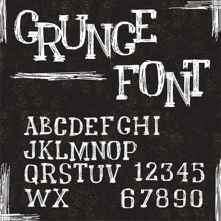 Grunge alphabet letters and numbers  Vector Vector
