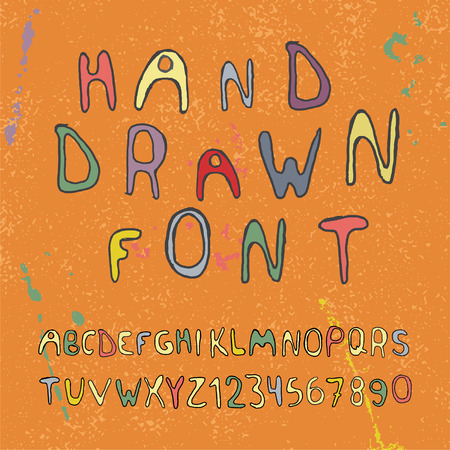 Hand drawn alphabet letters and numbers. Vector illustration. Vector
