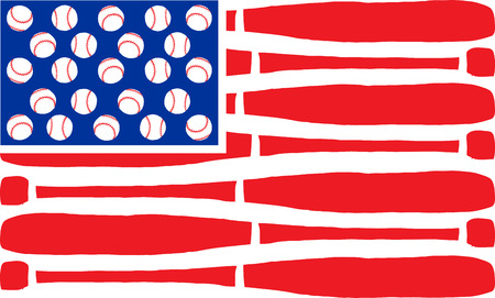 American flag made of bats and balls. Vector illustration. Vector