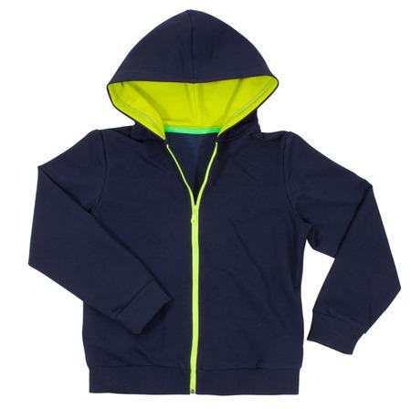 chaqueta: Sudadera con capucha diseño frontal azul aislado en blanco