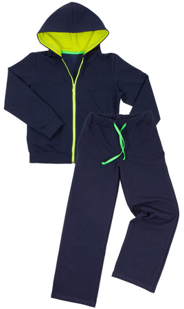 Blue sportswear isolated on white background photo