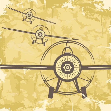 Vintage grunge postcard design with plane  Vector Vector
