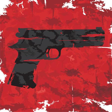 Vintage grunge gun graphic design  Vector Vector