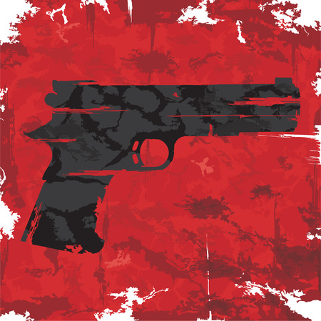 pistol gun: Vintage grunge gun graphic design  Vector