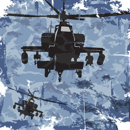 Army grunge background with helicopter  Vector Vector