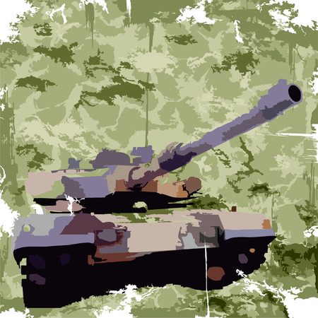 army background: Army background with tank  Apparel print  Vector Illustration