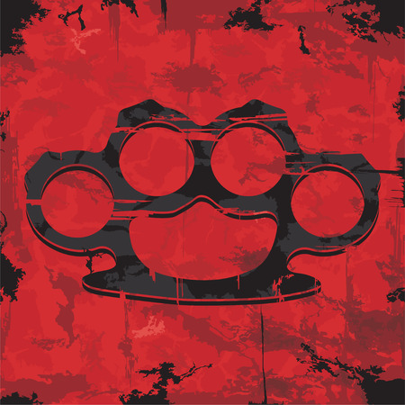 Brass knuckles design  Apparel print  Vector