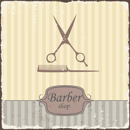 barber background: Barber shop vintage retro typography  Vector Illustration