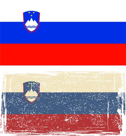 slovenian: Slovenian grunge flag  Vector illustration