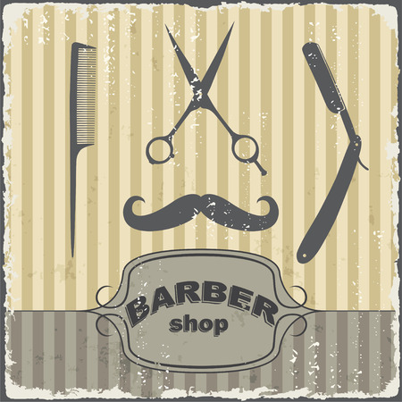 shaver: Barber shop vintage retro typography template. Vector illustration