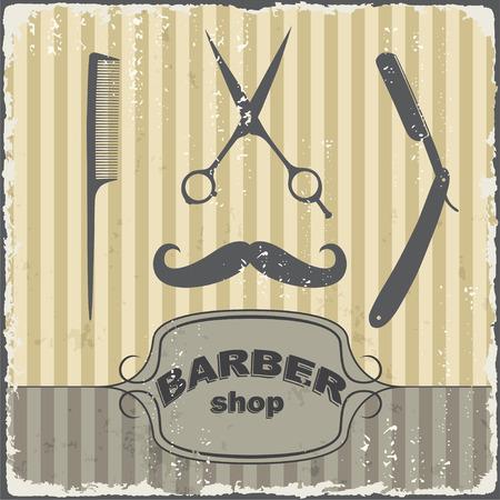 rasoio: Barbiere negozio vintage template tipografia retr�. Illustrazione vettoriale