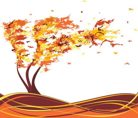 Autumn grunge tree in the wind. Vector illustration