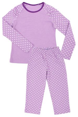 designer baby: Pink childrens girls pajama set isolated on white background