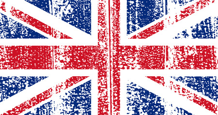 english textures: British grunge flag. Vector illustration. Grunge effect can be cleaned easily.