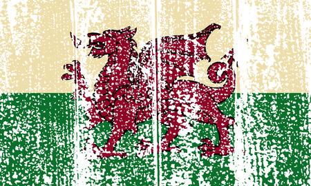 welsh: Welsh grunge flag. Vector illustration. Grunge effect can be cleaned easily. Illustration
