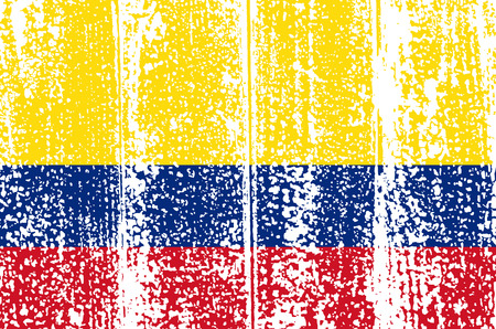Colombian grunge flag. Vector illustration. Grunge effect can be cleaned easily. Vector