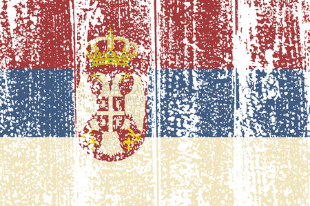 serbian: Serbian grunge flag. Vector illustration. Grunge effect can be cleaned easily