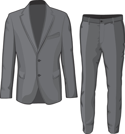 Male clothing suit coat and pants  Vector