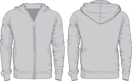zip hoodie: Men s hoodie shirts template  Front and back views