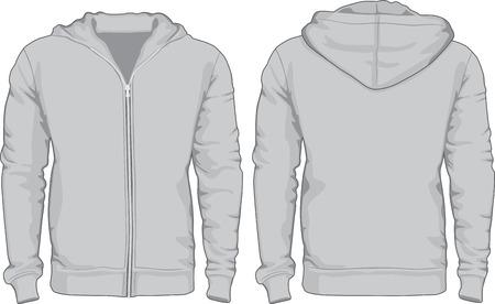 Men s hoodie shirts template voor-en achterzijde uitzicht