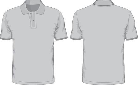 ポロ: 男性のポロシャツ テンプレート前面および背面ビュー  イラスト・ベクター素材