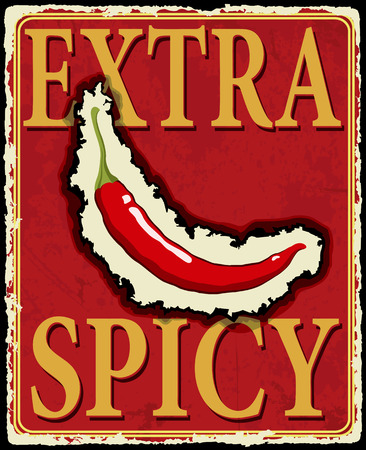 Vintage extra spicy poster  Vector illustration  Vector