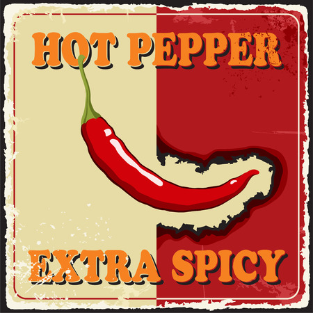 Vintage extra spicy poster chili pepper  Vector Vector
