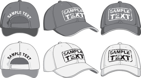 Baseball cap, front, back and side view  Vector