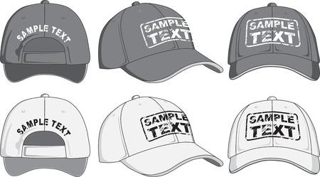 gorra: Gorra de béisbol, frontal, posterior y lateral Vector