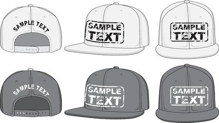 Rap čepice, přední, zadní a boční pohled Vector