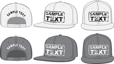 baseball cap: Rap cap, front, back and side view  Vector Illustration