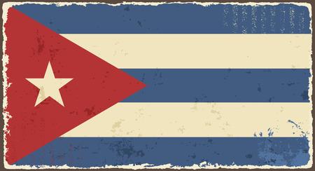 cubana: Grunge ilustraci�n de la bandera cubana Vector