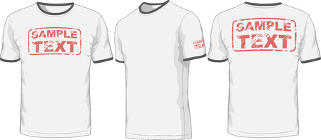 tee shirt template: Front, back and side views of t-shirt  Vector Illustration