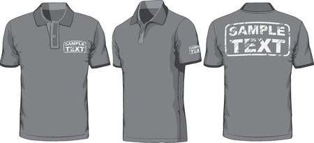 tee shirt: Front, back and side views of polo-shirt  Vector