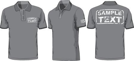 Parte delantera, trasera y lateral de polo-shirt Vector