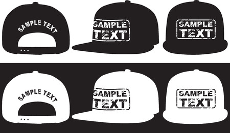 Rap cap, front, back and side view  Vector Illustration