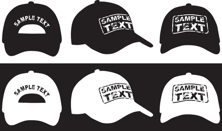 sported: Baseball cap, front, back and side view  Vector