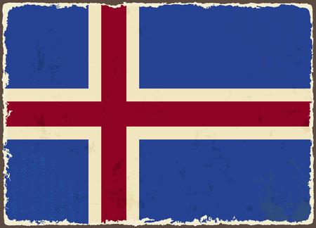 the icelandic flag: Icelandic grunge flag  Vector illustration