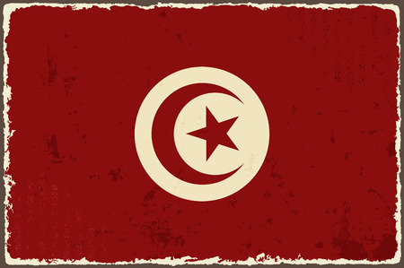 tunisian: Tunisian grunge flag  Vector illustration