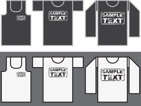 Singlet, T-shirt and Long-sleeved shirt template  Vector
