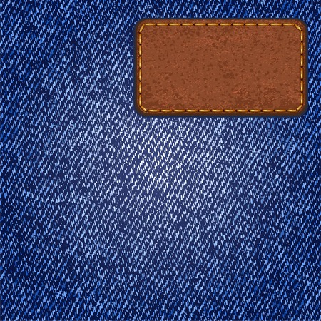 Jeans texture with leather label  Vector Vector