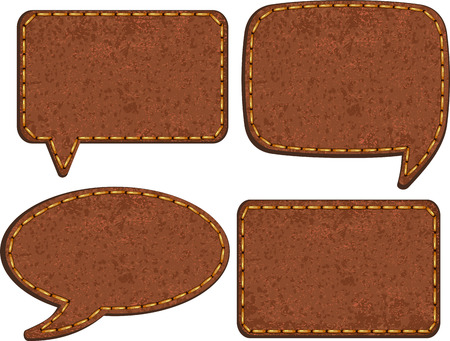 leather background: Set of jeans leather labels  Vector Illustration
