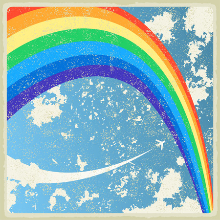 aerostat: Vintage background with plane and rainbow  Vector Illustration