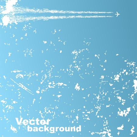 Background with plane and clouds  Vector Illusztráció