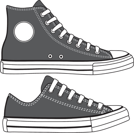 Set of high and low sneakers drawn  Vector Vector